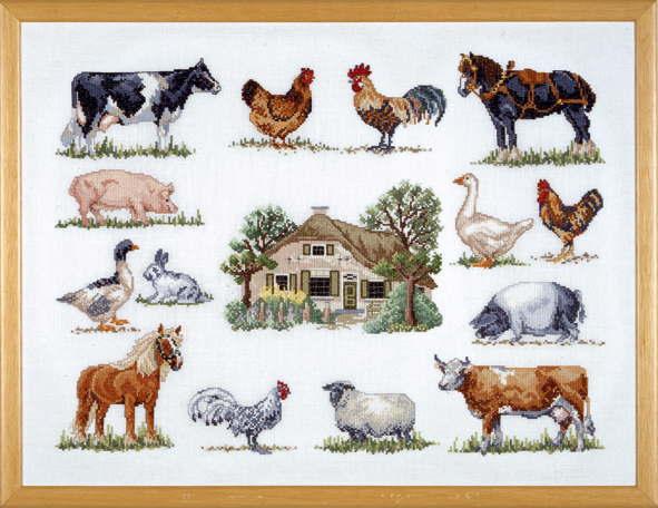 PERMIN ファームアニマル Farm animals クロスステッチ 刺繍 キット デンマーク ペルミン 70-6420 【送料無料】