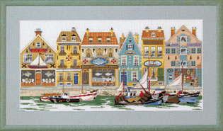 ペルミン クロスステッチ刺繍キット 輸入 Permin of Copenhagen ウォーターフロント Havnefront デンマーク 北欧 上級者 70-8411