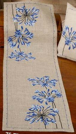 クロスステッチ刺繍完成品 輸入 Permin of Copenhagen ペルミン Agapanthus アガパンサス デンマーク 北欧 刺しゅう 75-7714M