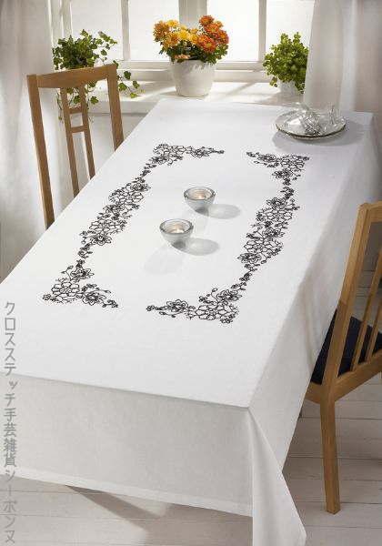 ペルミン 刺繍キット Flowers 花のテーブルクロス Permin of Copenhagen 北欧 デンマーク 上級者 58-2870