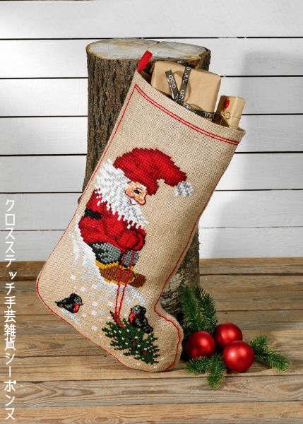 クロスステッチ刺繍完成品 ペルミン Zwerg & Weihnachtsbaum ドワーフとクリスマスツリーのソックス Permin of Copenhagen 北欧 デンマーク 刺しゅう 41-8270M