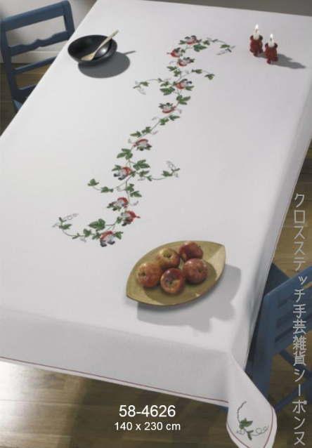 クロスステッチ刺繍キット 輸入 Nisse Tablecloth ニッセのテーブルクロス デンマーク 北欧 ペルミン 刺しゅう 上級者 58-4626