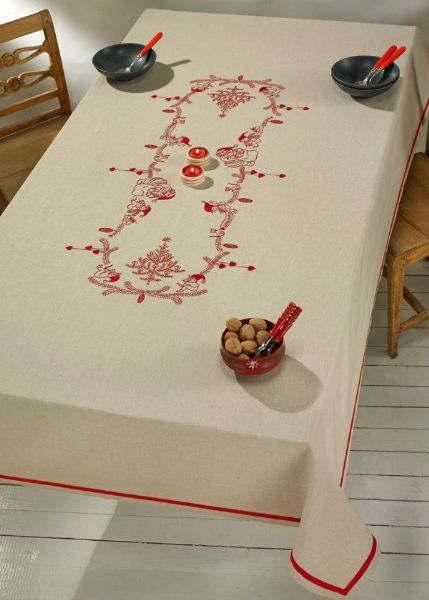 刺しゅう輸入キット ペルミン 小さなニッセのテーブルクロス Small niches デンマーク刺繍 Permin of Copenhagen 北欧 上級者 58-6605