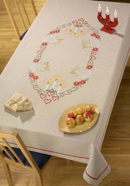 刺しゅう輸入キット ペルミン Angels 天使のテーブルクロス Permin of Copenhagen 北欧 デンマーク刺繍 上級者 58-0682