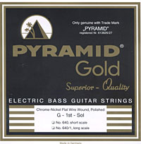 PYRAMID Gold Electric Bass Chrome-Nickel Flatwound Strings EB-Gold .040-.100 short scale