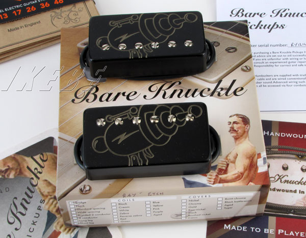 Bare Knuckle 《ベアナックル》 Rebel Yell humbucker Steve Stevens signature set (Black / Ray Gun laser etched cover)