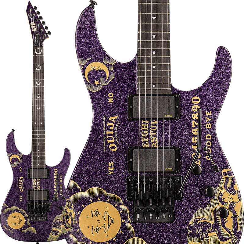 LTD Signature Series KIRK HAMMETT Model KH SPARKLE OUIJA (Purple Sparkle w/Ouija Graphic)【即納可能】