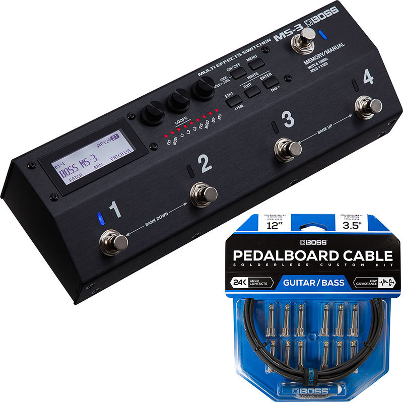 BOSS 《ボス》 MS-3 [Multi Effects Switcher] + BCK-12 『Pedalboard cable kit, 12connectors, 3.6m』~ソルダーレスケーブル~