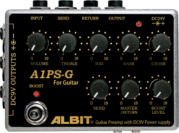 ALBIT 《アルビット》 A1PS-G [GUITAR PRE-AMP with DC9V POWER SUPPLY]【受注生産】