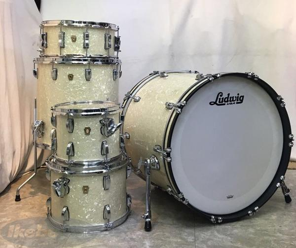 Ludwig 《ラディック》 Classic Maple 4-Piece FOD-22 Drum Set Shell Pack w/FREE Snare – VINTAGE WHITE MARINE [L88204AXNM] 【BD:22 / FT:16 / TT:10&12 / SD:14】 ※お値段据え置き!スネアドラムが付属したお買い得パッケージドラムセット!