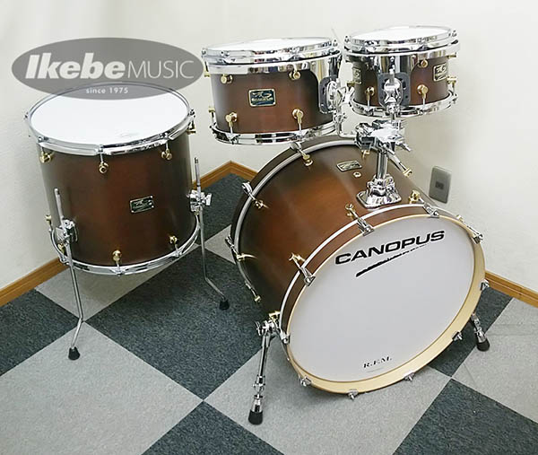 "CANOPUS《カノウプス》 ""R.F.M."" 4 Piece Kit [22BD, 16FT, 12 &10TT / Bitter brown Oil Finish] 【ダブルタムホルダー仕様】"