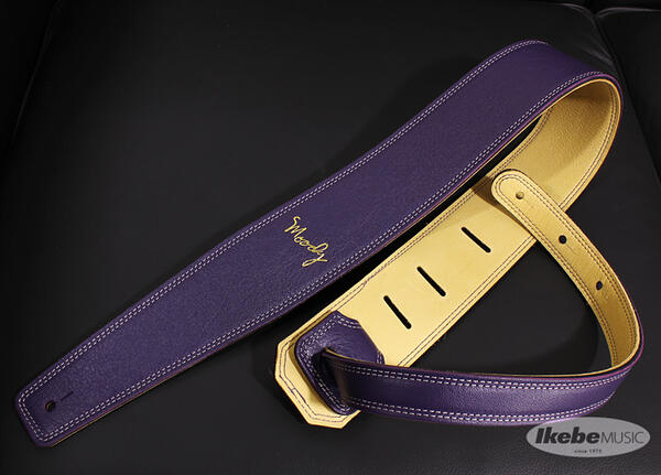 Moody 《ムーディー》 Handmade Leather Straps, Leather & Leather Series, 2.5inch Standard Tail 【 Violet / Cream 】