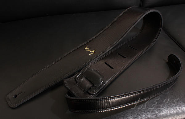 Moody Handmade Leather StrapsLeather & Leather Series 2.5inch Standard Tail 【Black/Black 】