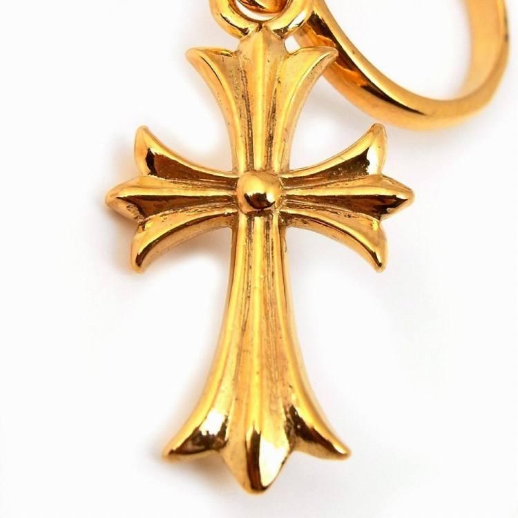 人気 メンズ ブランド SBG 22K GP ゴールド クロス ドロップ フープ ピアス 片耳 シルバー 925 金 十字架