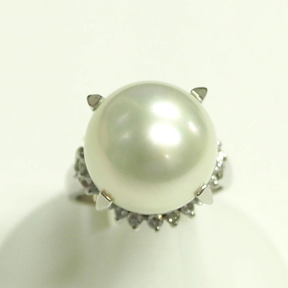 Pt900 真珠 パールダイヤモンドリング 13.5mm D0.41ct 12号 新品仕上げ済み【中古】美品《返品可》【質屋出品】【送料無料】