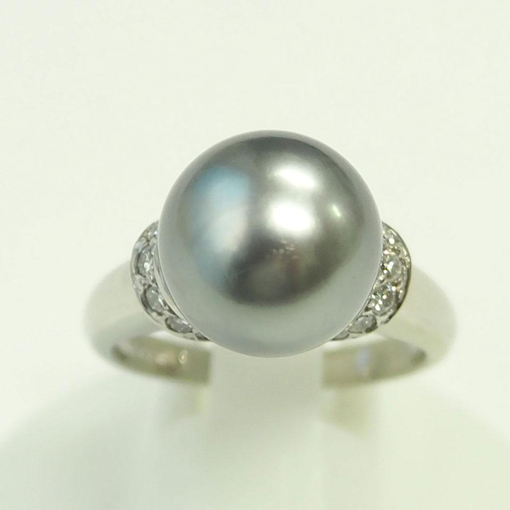 Pt900 真珠 パールダイヤモンドリング 10mm D0.22ct 11号 新品仕上げ済み【中古】美品《返品可》【質屋出品】【送料無料】