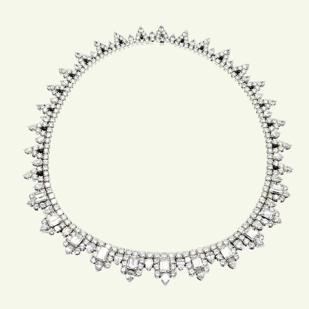 ダイヤモンドネックレス 計48,84ct K18WG64,2g【中古】A【質屋出品】【楠本商店】