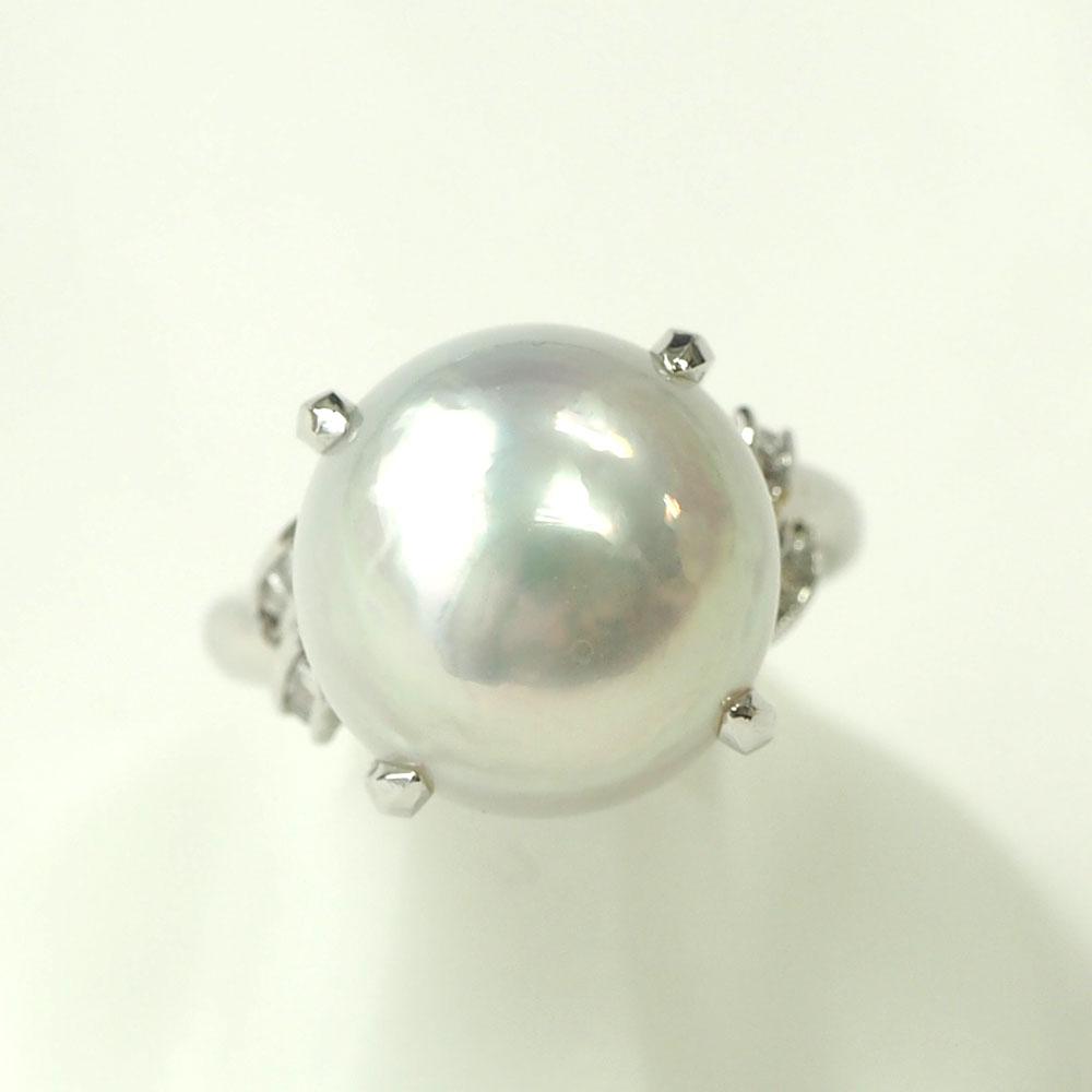 【渋谷の質屋 楠本商店】Pt900 真珠 パールダイヤモンドリング 14mm D0.16ct 12.5号【中古】A《返品可》【質屋出品】【送料無料】