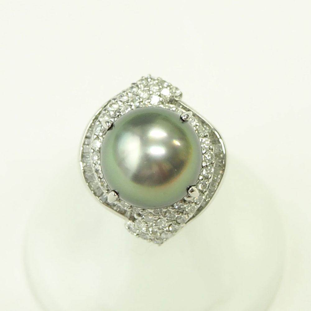 【渋谷の質屋 楠本商店】Pt900 真珠 ブラックパールダイヤモンドリング 13mm D1.14ct 12号【中古】A《返品可》【質屋出品】【送料無料】