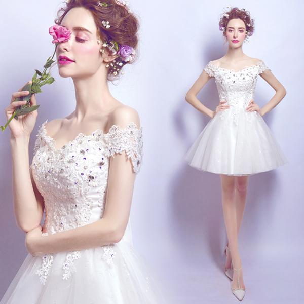 ウエディングドレス 結婚式 ミニドレス ショートドレス 花嫁 ドレス ブライダル ウェディングドレス 二次会 エンパイア カラードレス パーティードレス 大きいサイズ 小きいサイズ 披露宴 発表会 白 XXS XS S M L XL XXL XXXL