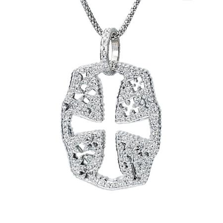 ◆ミウラ◆ ダイヤモンド/1.72ct クロスデザイン ネックレス K18WG 仕上済【中古】【smtb-TD】【saitama】