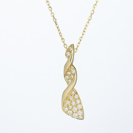 ◆ミウラ◆ミキモト ダイヤモンド/0.28ct デザイン ネックレス K18YG【中古】【smtb-TD】【saitama】