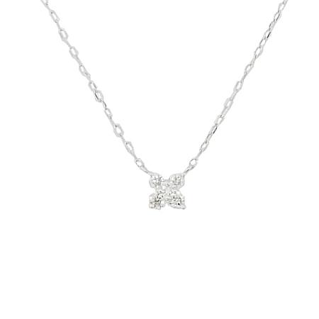 ミウラ 賜物 激安 激安特価 送料無料 4℃ 5Pダイヤモンド デザイン ペンダント 中古 smtb-TD saitama K18WG ネックレス