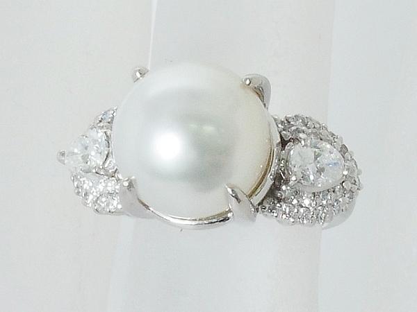 清水屋《送料無料》パール/約11mm ダイヤモンド/0.70ct プラチナ デザイン リング 8号【smtb-TD】【saitama】【中古】