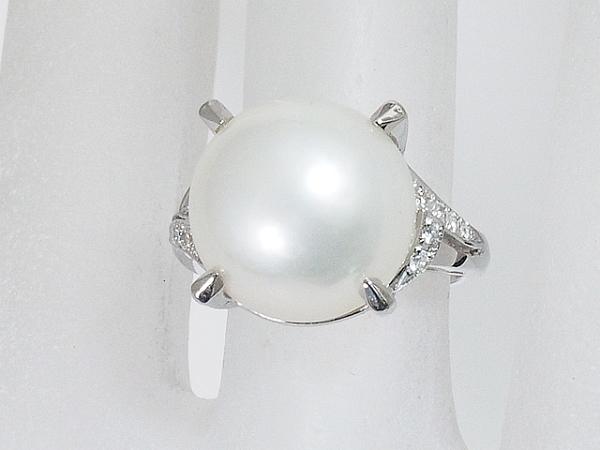 清水屋《送料無料》パール/13mm ダイヤモンド/0.11ct デザイン リング Pt900 10号【smtb-TD】【saitama】【中古】