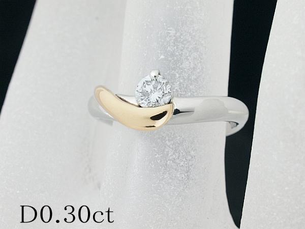 清水屋《送料無料》ダイヤモンド/0.30ct コンビカラー デザインリング 9.5号 Pt900/K18YG【smtb-TD】【saitama】【中古】