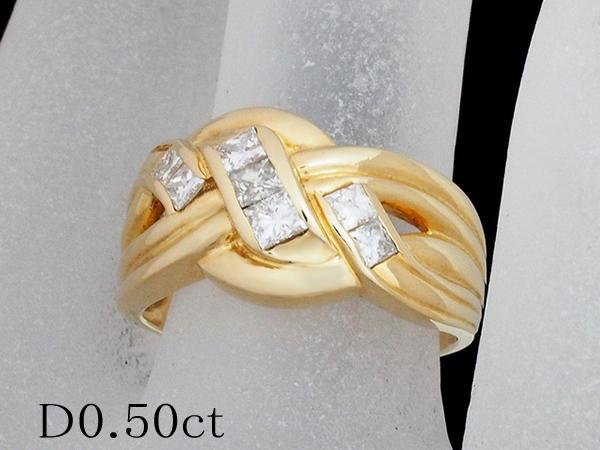 清水屋《送料無料》ダイヤモンド/0.50ct デザイン リング K18YG 12号【smtb-TD】【saitama】【中古】