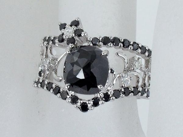 清水屋《送料無料》ブラックダイヤ/1.83ct ダイヤ・ブラックダイヤ/0.58ct デザイン リング K18WG 11号【smtb-TD】【saitama】【中古】