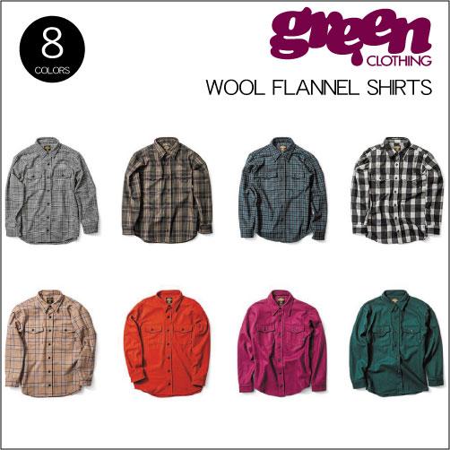 【 18-19 2019 GREEN CLOTHIG WOOL FLANNEL SHIRTS 】グリーンクロージング ウールフランネルシャツ