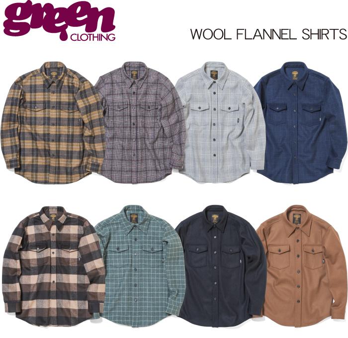 【 19-20 2020 GREEN CLOTHIG WOOL FLANNEL SHIRTS 】グリーンクロージング ウールフランネルシャツ
