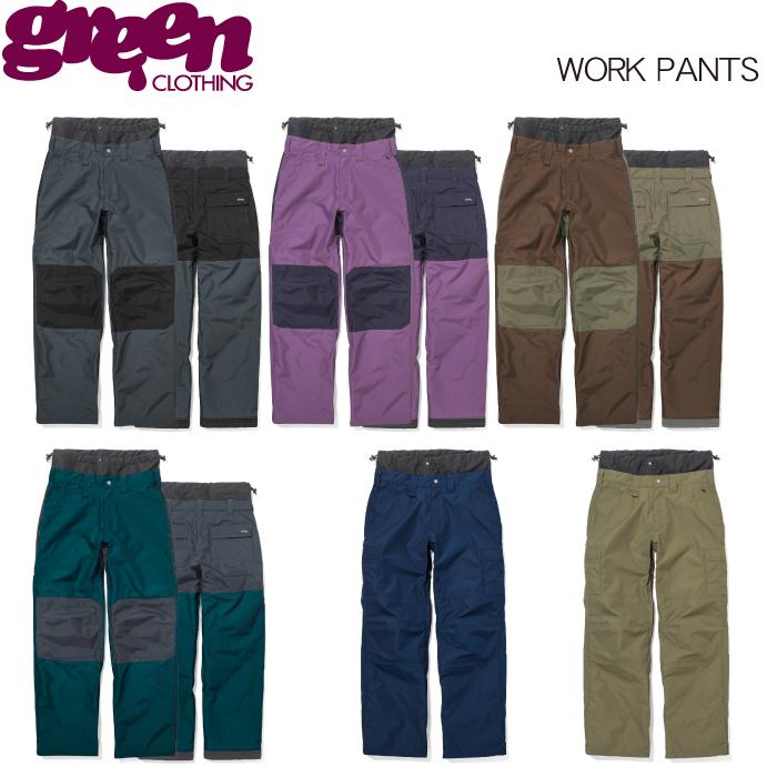 【 19-20 2020 GREEN CLOTHIG WORK PANTS 】グリーンクロージング ワークパンツ スノーボードウェア