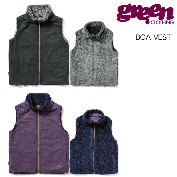 【20-21 GREEN CLOTHING BOA VEST】グリーンクロージング ボアベスト リバーシブル ウール 2021