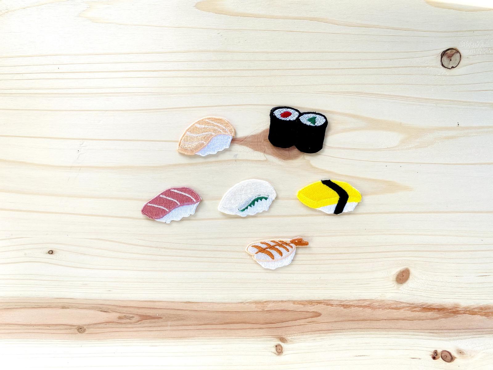 奉呈 大 寿司の刺繍ワッペン トロ 春の新作続々 サーモン イカ エビ 玉子 鉄火かっぱ巻き