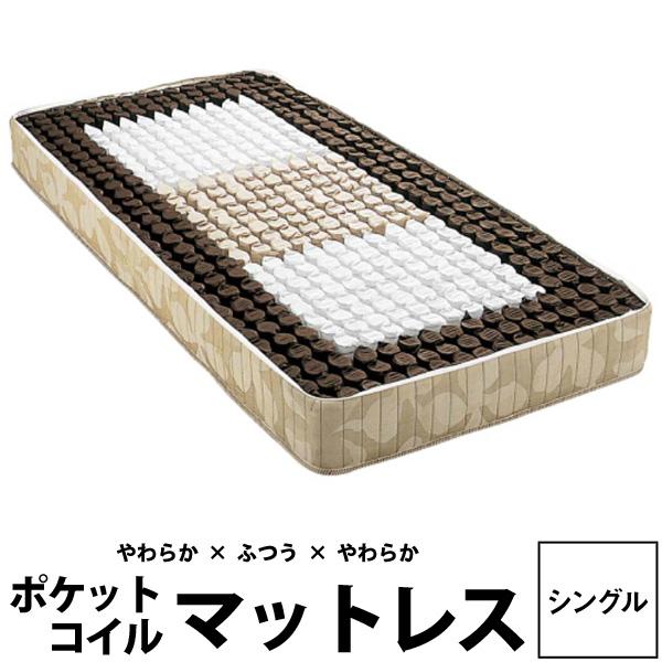 【西川リビング】バランスマットレス(ソフト&レギュラー&ソフト)シングル 幅97×長さ200×高さ25cm