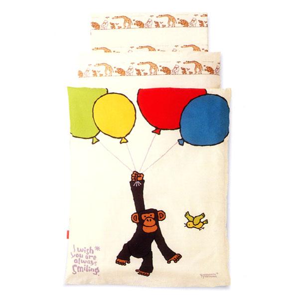 【京都西川】BABY BEDDING~ベビー寝具~ポリエステル組ふとん(風船とチンパンジー ローズラジカル6点セット)YT102【smtb-TK】