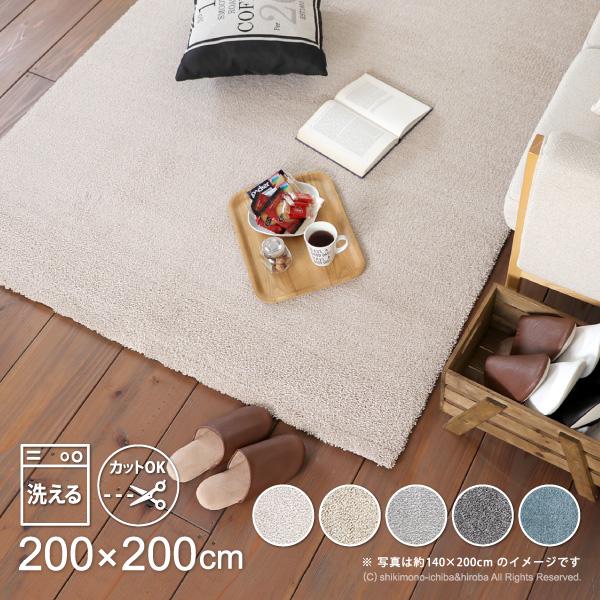 【カットOK・洗濯機OK】ベルギー製 ラグ SENSE(センス) 約200×200cm【約2畳】 正方形 ラグマット シャギーラグ 洗える 床暖房対応 おしゃれ 北欧 グレー グレージュ オールシーズン DIY キャッシュレス 消費者還元事業 ポイント還元5%
