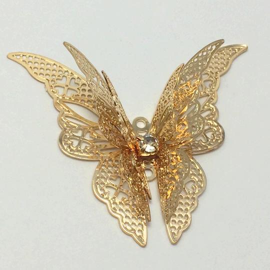 大きな蝶のチャーム 立体 ライトゴールド ラインストーン付き メタルチャーム 高品質 パーツ ハンドメイド