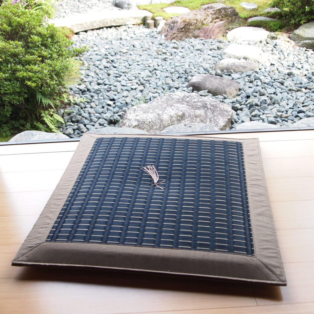 掛川D黒/高級いぐさ座布団夏用(い草イ草イグサ)60×60cm【送料無料】