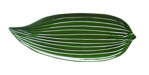 高岡漆器 彫刻塗皿 点心盆 笹グリーン 箸休め デザート皿 29×11×1.5cm 化粧箱