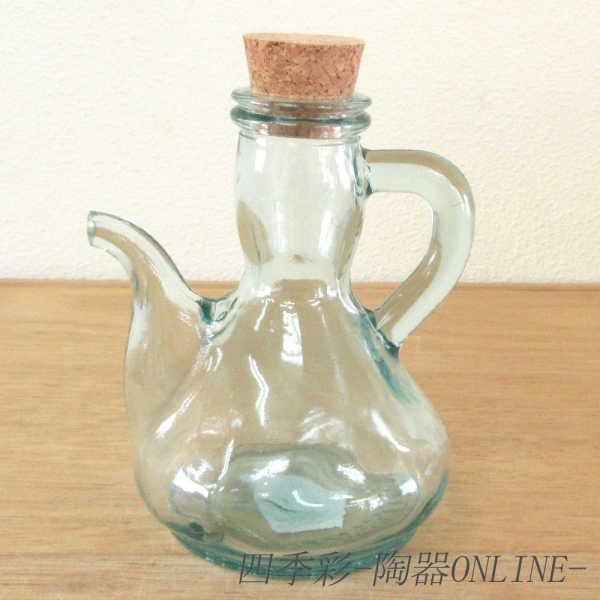 ガラス食器 オイルポット ドレッシングボトル 調味料ボトル オイル差し オイルボトル 250cc 市販 安値 リサイクルガラス おしゃれ コルク栓ガラス食器