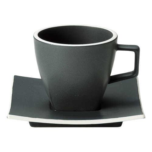 コーヒーカップ 白 陶器 おしゃれ カフェ食器 数量限定アウトレット最安価格 ソーサー 美濃焼 カーボンブラック カルマコーヒーカップ 商い 業務用