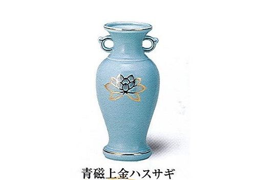 M サギ型花立青磁上金ハスサギ 尺0 【仏具】【陶器】【花瓶】