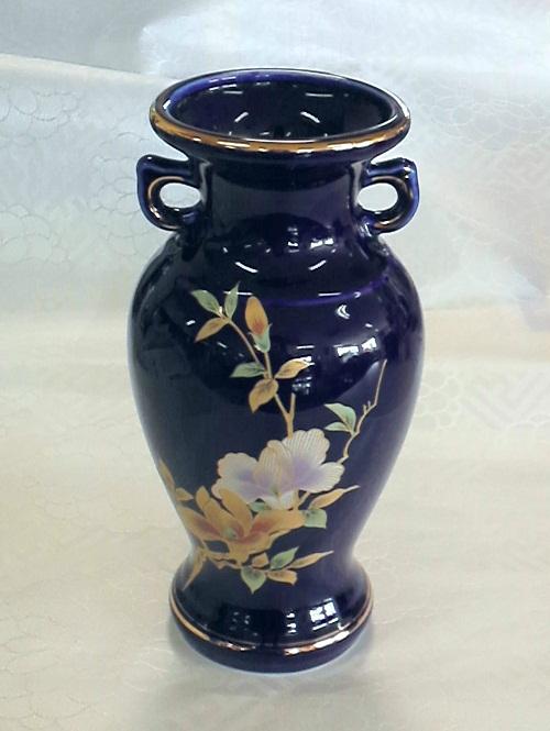 サギ型花立ルリ 木蓮サギ 尺0仏壇 仏具 花瓶 花立 陶器製