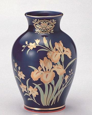 【夏目花瓶 ルリアイリス 10号】1本 仏壇 仏具 陶器 花瓶