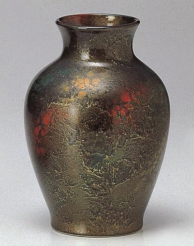 【夏目花瓶 吹錦雲母 10号】1本 仏壇 仏具 陶器 花瓶