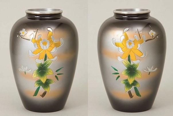 【軽合金製 夏目花立 四君子 10寸】1対 仏壇 仏具 陶器 花瓶
